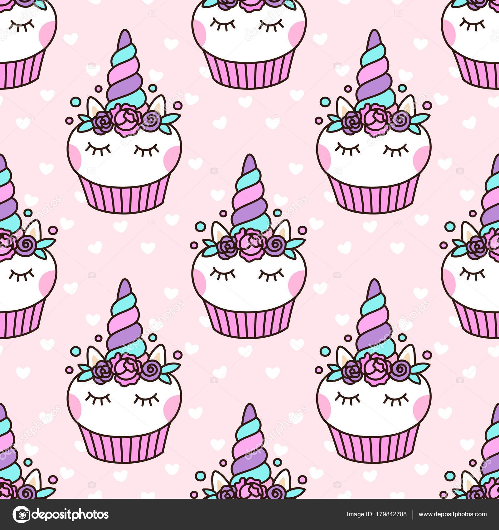 Imágenes Cupcake De Unicornio Patrón Sin Fisuras Con Cupcake