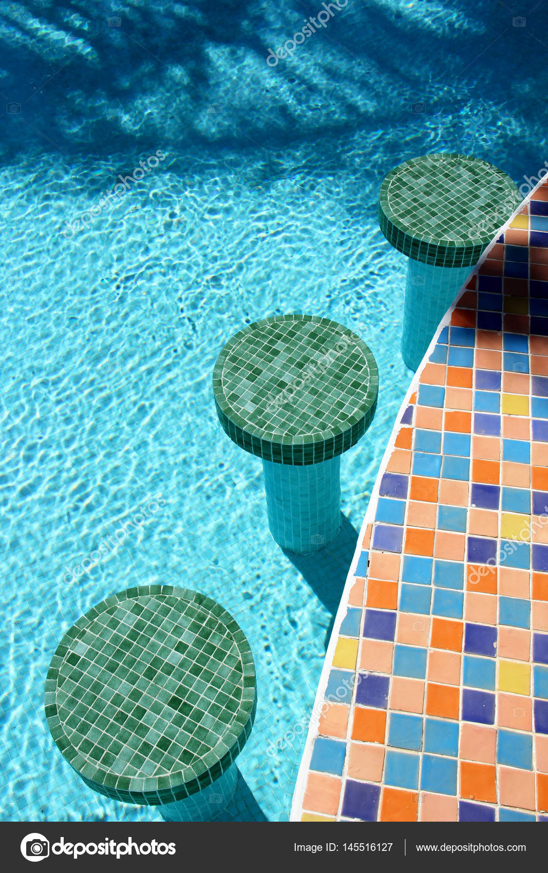 Swimming pool bar stools — Stock Photo © Murdocksimages ...