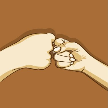 two hand fist bumping design