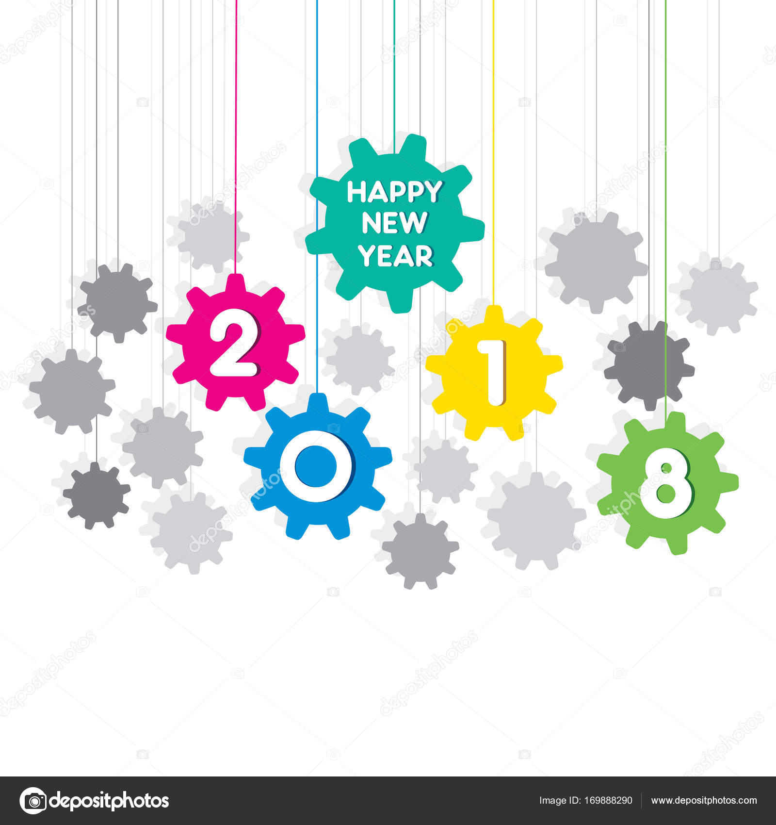 creative new year 2018 greeting design using hanging gear shape pattern vector by vectotaart