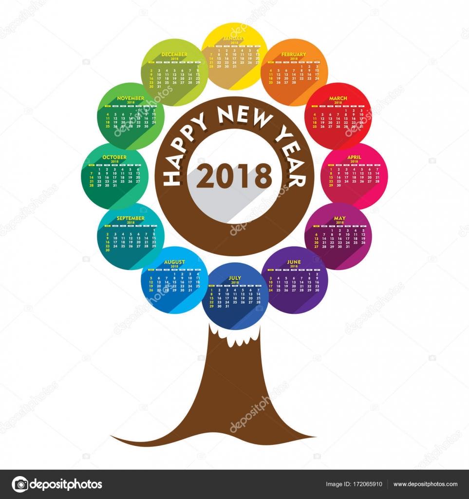 creative tree shape new year 2018 calendar 2018 template design vector by vectotaart