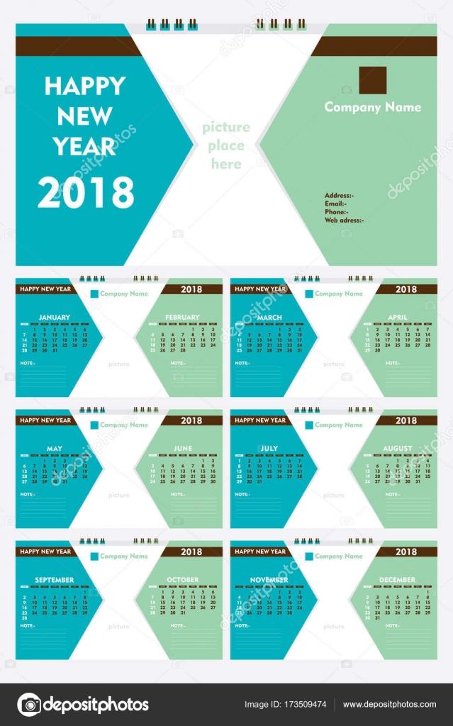 New Year 2018 Calendar Template Design Stock Vector Vectotaart