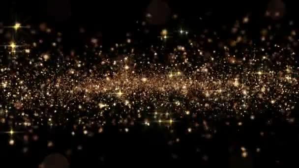 Krásné abstraktní zlaté částečky létající bezešvé s Bokeh. Smyčkového 3d animace v pomalém pohybu. HD 1080.