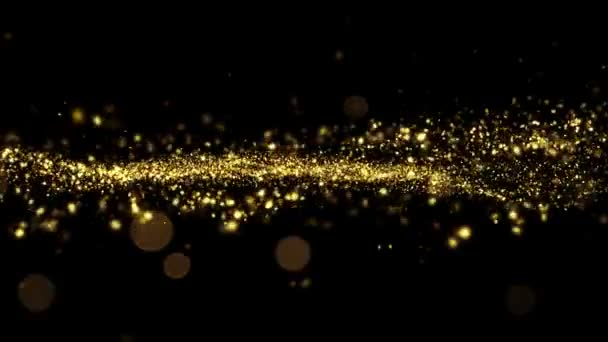 Beautiful Luxury Golden Particles Moving Seamless with Bokeh Blur. Looped 3d Animation in Slow Motion. HD 1080.
