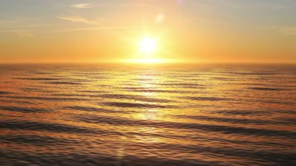Krásný oranžový západ slunce v oceánu smyčkového 3d animace. Slunce zářící Bright s světlice. 4k Uhd 3840 x 2160