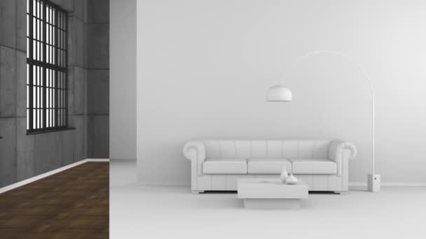 elvont színes csík csúszó a nappaliban színek nélkül a háttérben - 3d renderelés