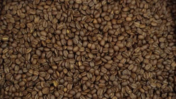 Close-up of fragrant roasted dark coffee beans