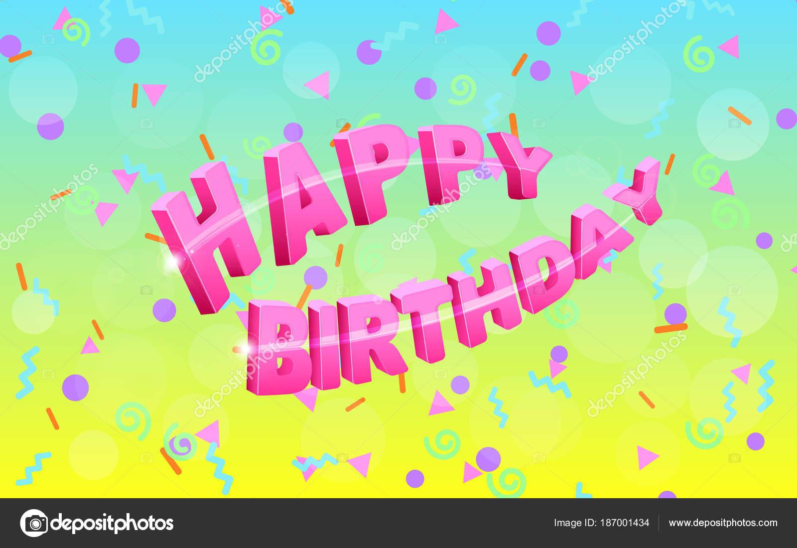Festive Confetti Background For Happy Birthday Greeting Card
