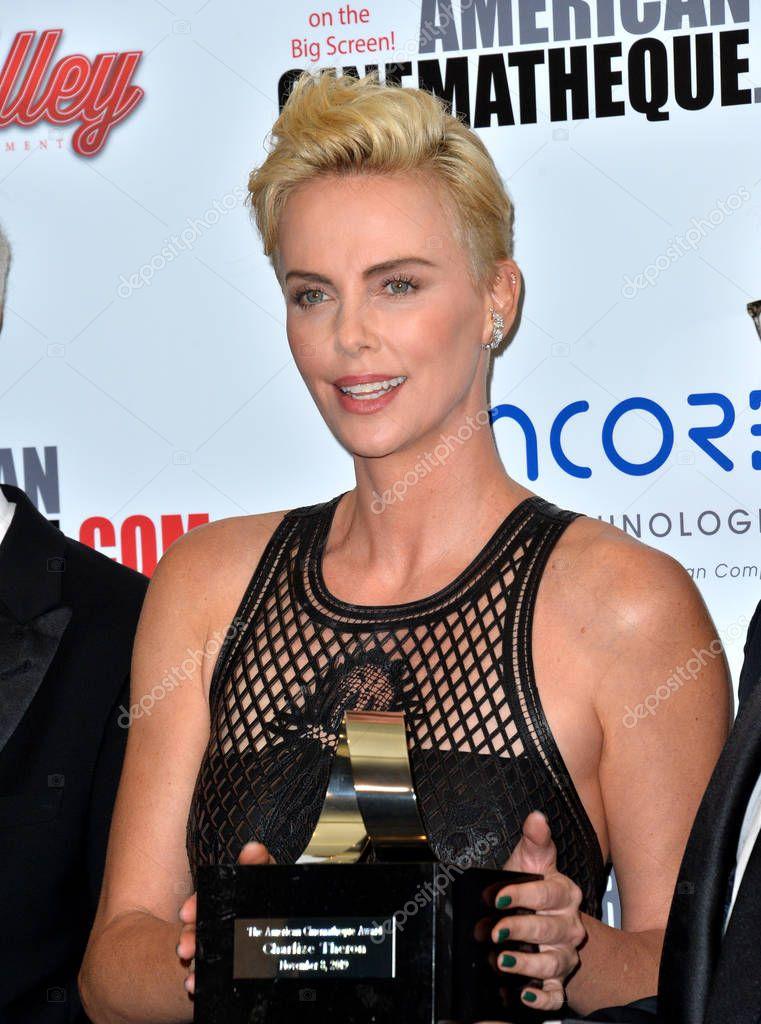 LOS ANGELES, USA. November 09, 2019: Charlize Theron at the American Cinematheque Award Gala honoring Charlize Theron at the Beverly Hilton stock vector