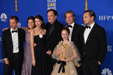 LOS ANGELES, USA. January 05, 2020: David Heyman, Shannon McIntosh, Margaret Qualley, Quentin Tarantino, Julia Butters, Brad Pitt & Leonardo DiCaprio in the press room at the 2020 Golden Globe Awards at the Beverly Hilton Hotel