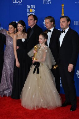 LOS ANGELES, USA. January 05, 2020: Shannon McIntosh, Margaret Qualley, Quentin Tarantino, Julia Butters, Brad Pitt & Leonardo DiCaprio in the press room at the 2020 Golden Globe Awards at the Beverly Hilton Hotel