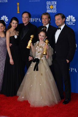 LOS ANGELES, USA. January 05, 2020: Margaret Qualley, Quentin Tarantino, Julia Butters, Brad Pitt & Leonardo DiCaprio in the press room at the 2020 Golden Globe Awards at the Beverly Hilton Hotel