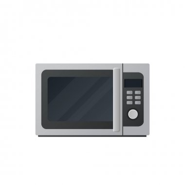 Microwave flat illustration. Front view of microwave. Vector.