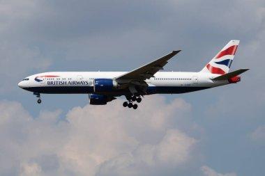 British Airways Boeing 777-200 G-ZZZB passenger plane landing at London Heathrow Airport