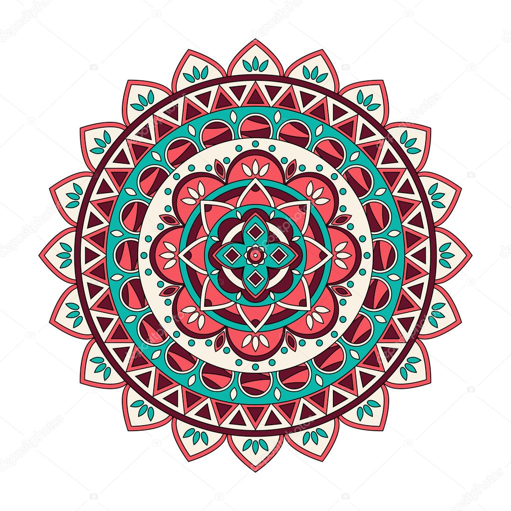 Color Floral Mandala Vector Illustration Stock Vector