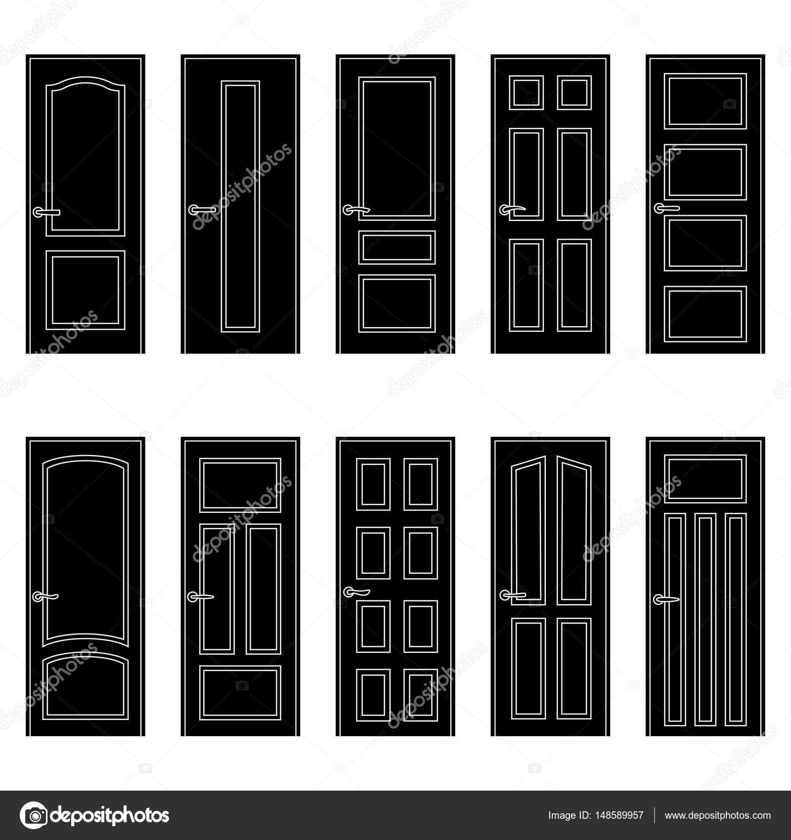 Set of black door icons vector illustration u2014 Stock Vector #148589957  sc 1 st  Depositphotos & Set of black door icons vector illustration u2014 Stock Vector ... pezcame.com