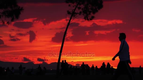 Ombre della gente della siluetta nel tramonto