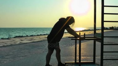 Man Making Sport Training near the Seaside for Fit and Healthy Life