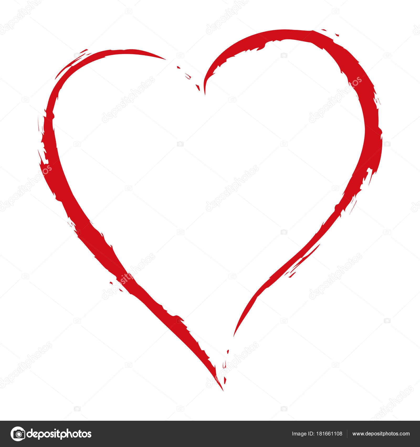 vector rood hart-tekening met de borstel op witte achtergrond