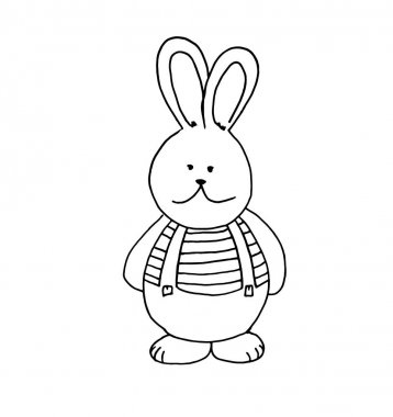 Cute hand-drawn doodle bunny boy in strips t-shirt and pants wit