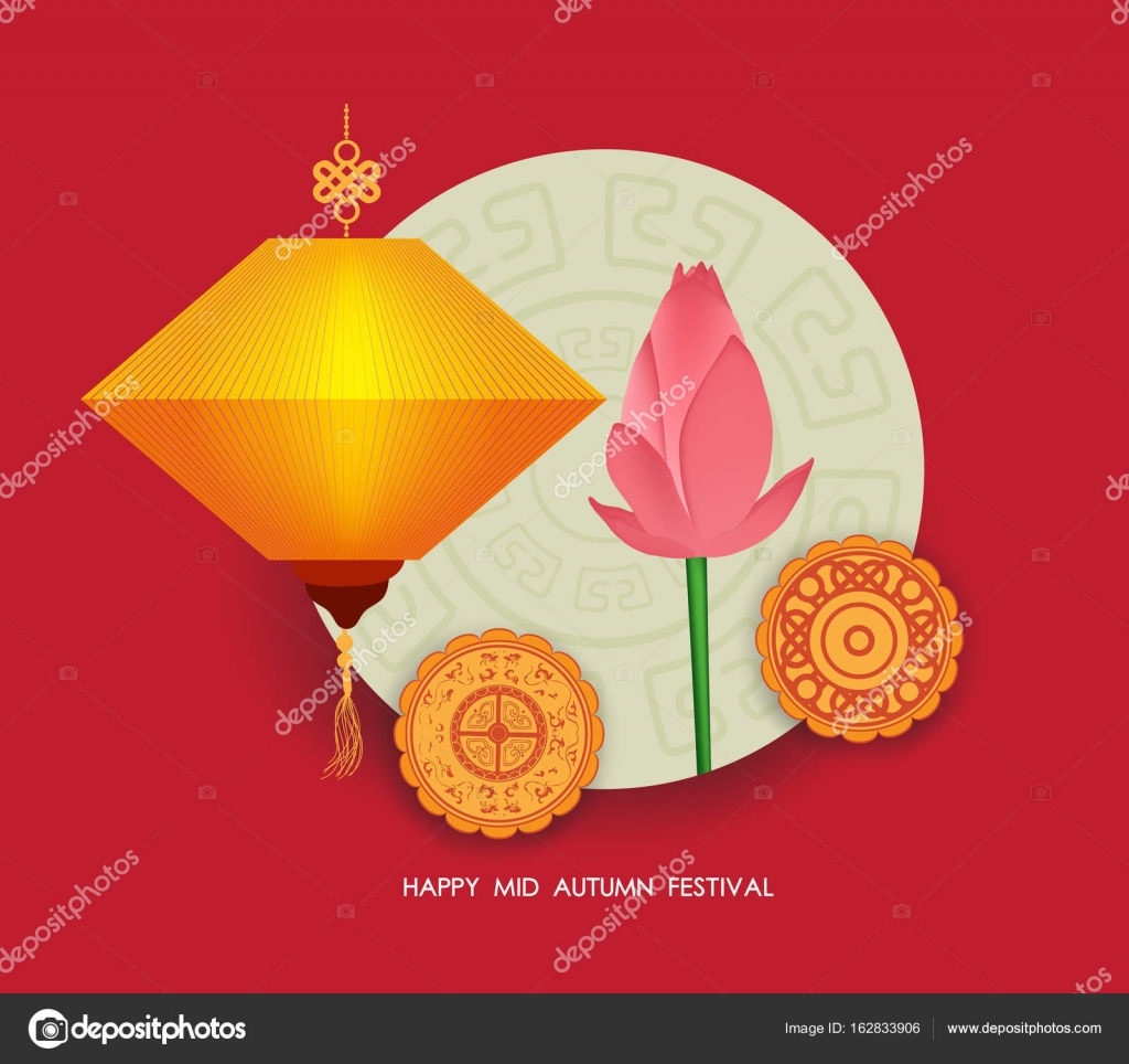 Autumn lantern festival background with moon cake and lotus happy autumn lantern festival background with moon cake and lotus happy mid autumn festival stock m4hsunfo