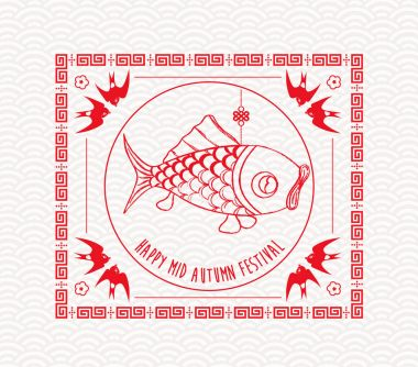 Chinese mid autumn festival graphic design. Carp lantern