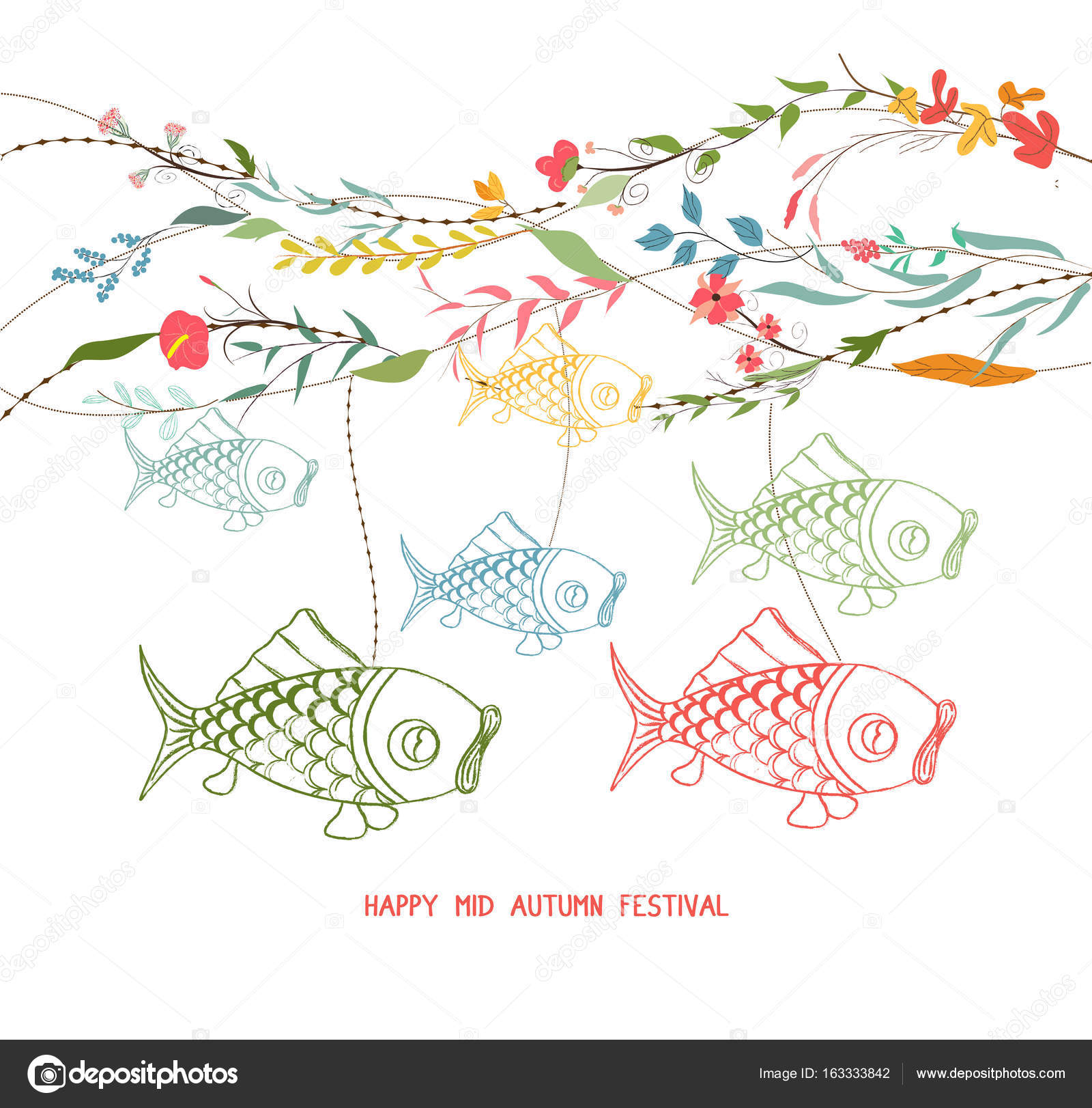 chinese lantern festival floral graphic design stock vector
