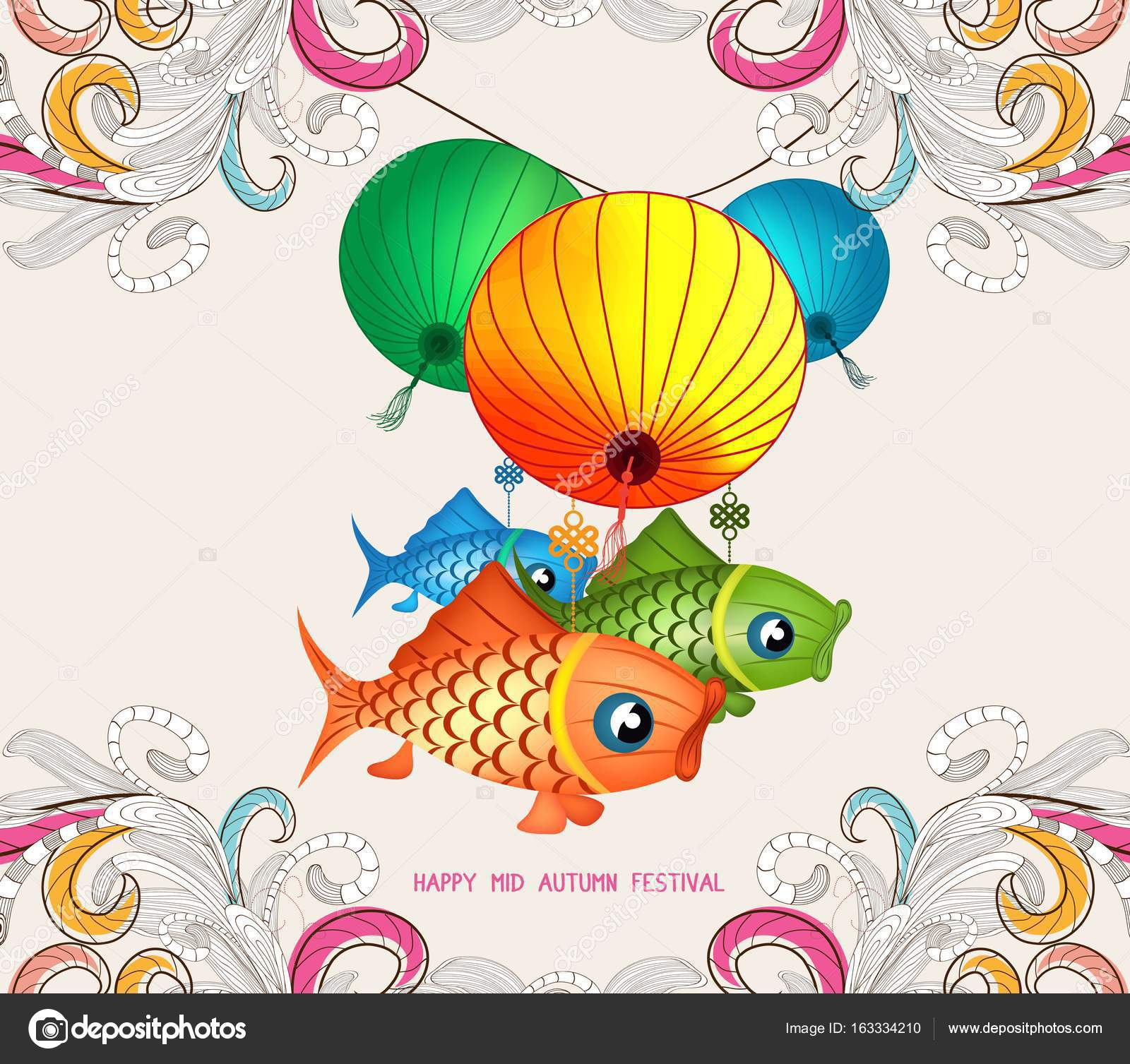 chinese lantern festival doodle graphic design stock vector