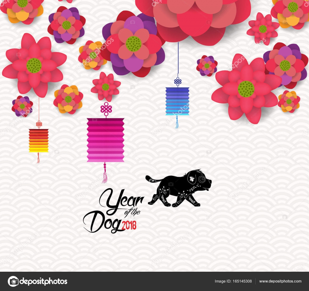 happy chinese new year 2018 card year of the dog stock vector