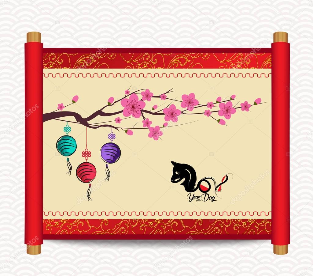Happy Chinese new year 2018 card, Year of the dog
