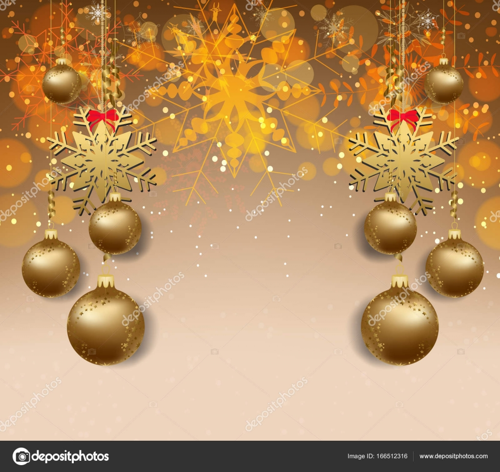 merry christmas and happy new year 2018 wallpaper gold balls stock vector