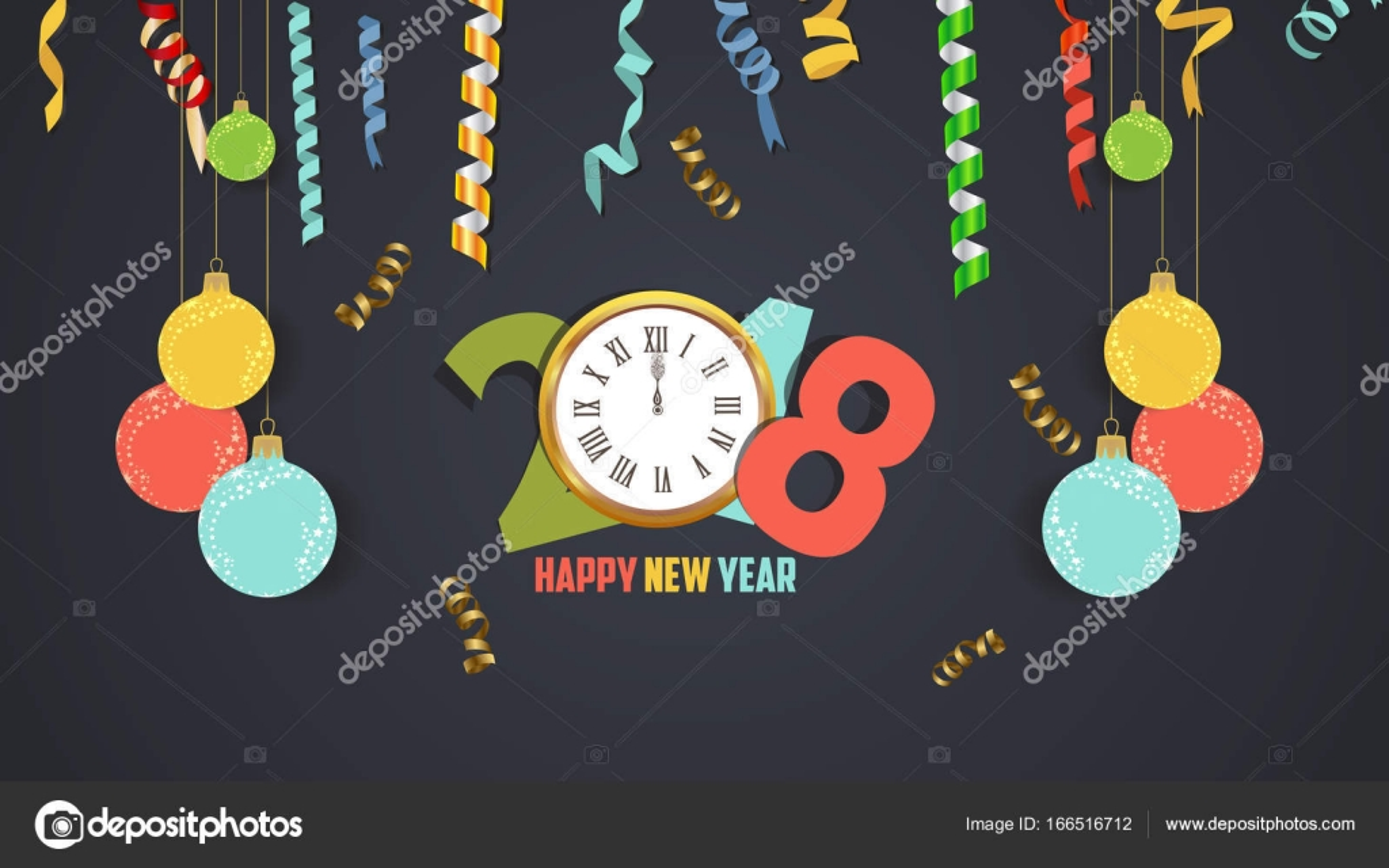 Frohes neues Jahr 2018 Konfetti und gold Uhr fest. Farbenfrohe ...