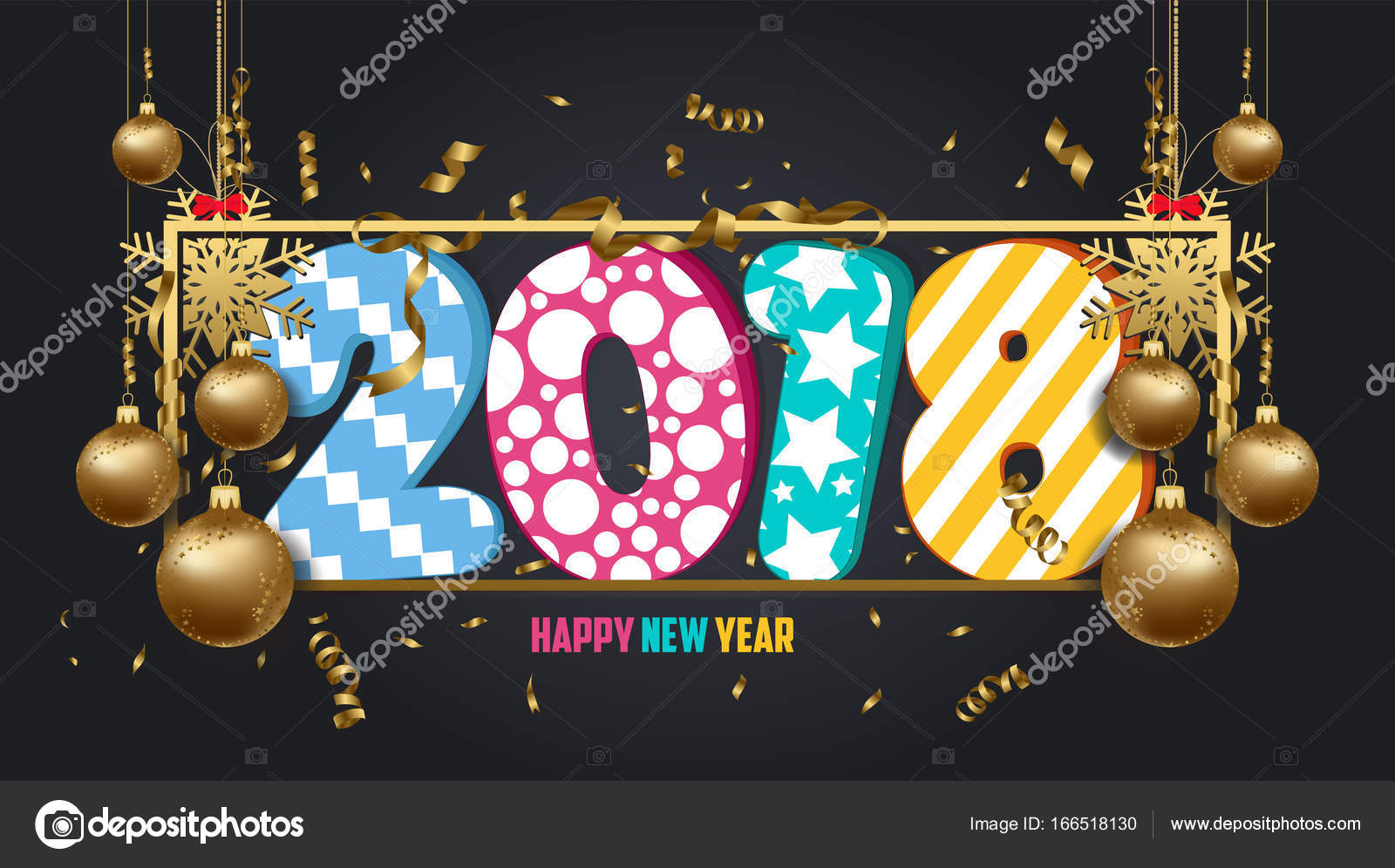 vector illustration of happy new year 2018 wallpaper gold balls and black colorful stock vector
