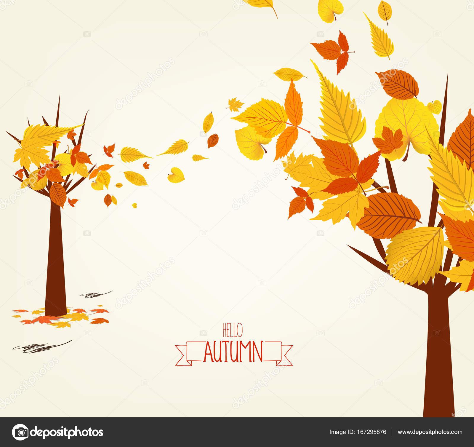 秋デザインのベクター イラストです。秋のツリーの背景色 — ストック