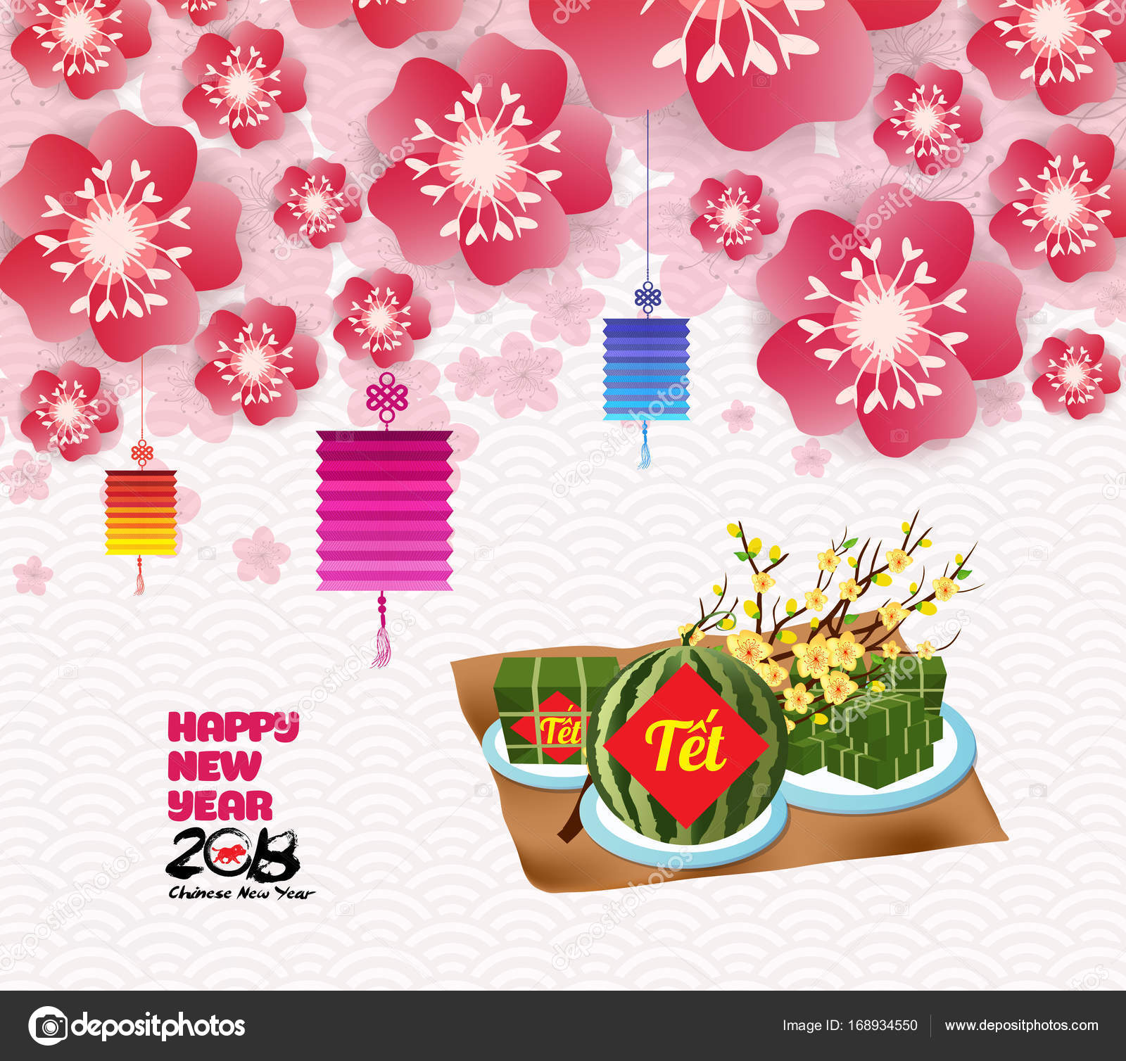 chinese new year background blossom sakura branches vietnamese new year translation