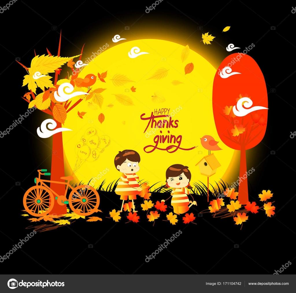 Happy Thanksgiving Day lustige Kinder eines Waldes im Herbst Blätter ...