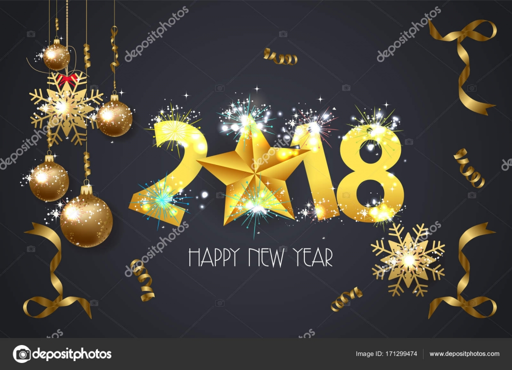 happy new year 2018 greeting card background with gold star stock vector