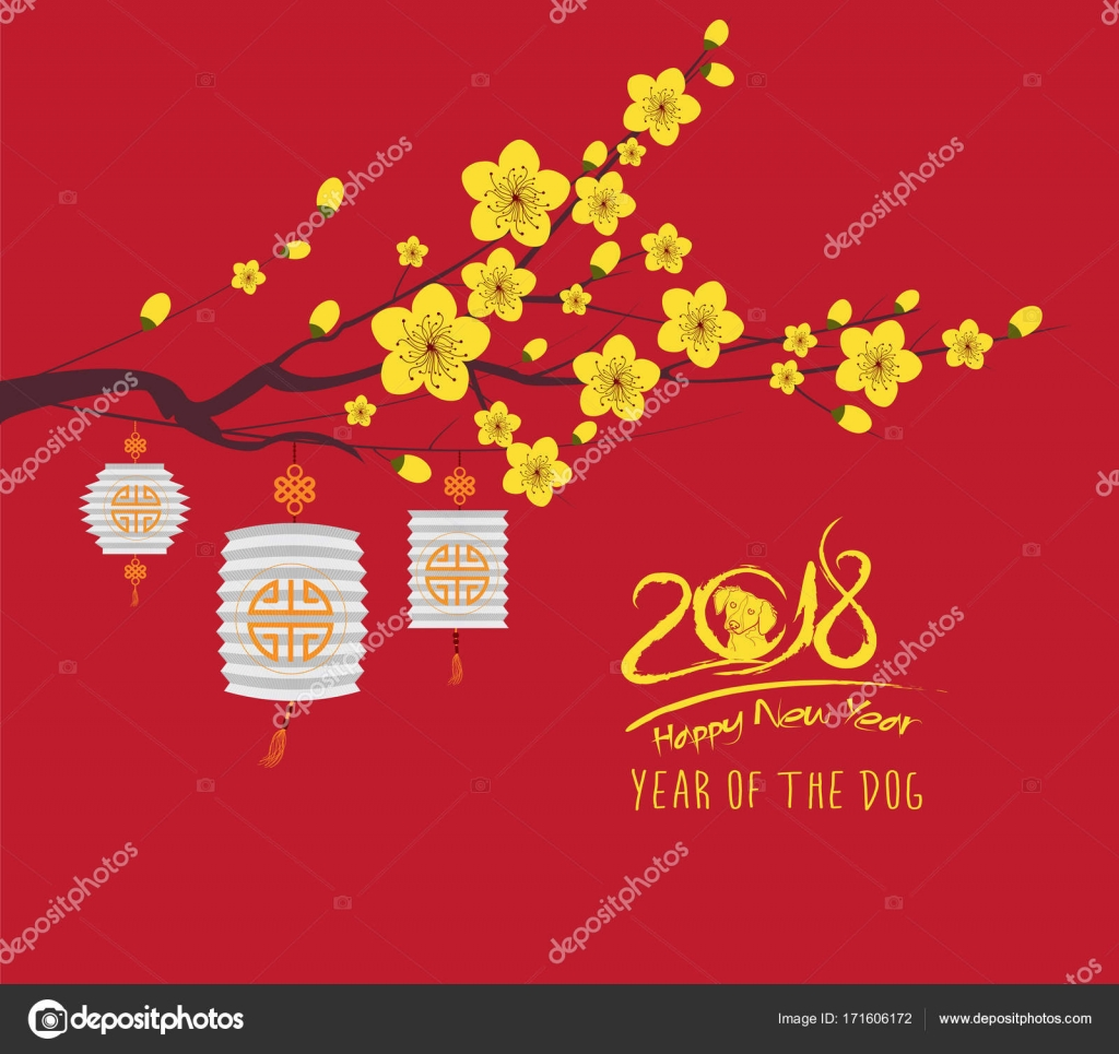 happy new year 2018 greeting card and chinese new year of the dog cherry blossom background vector by ngocdai86