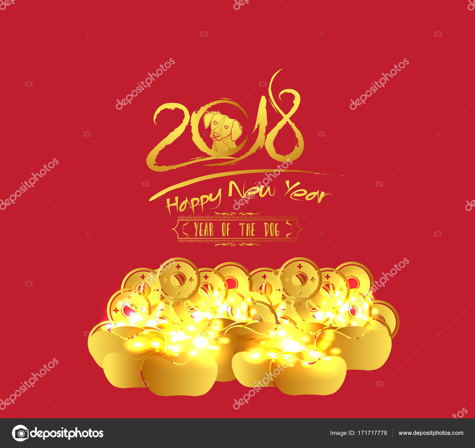 chinese new year 2018 golden coin and red packet background year of the dog
