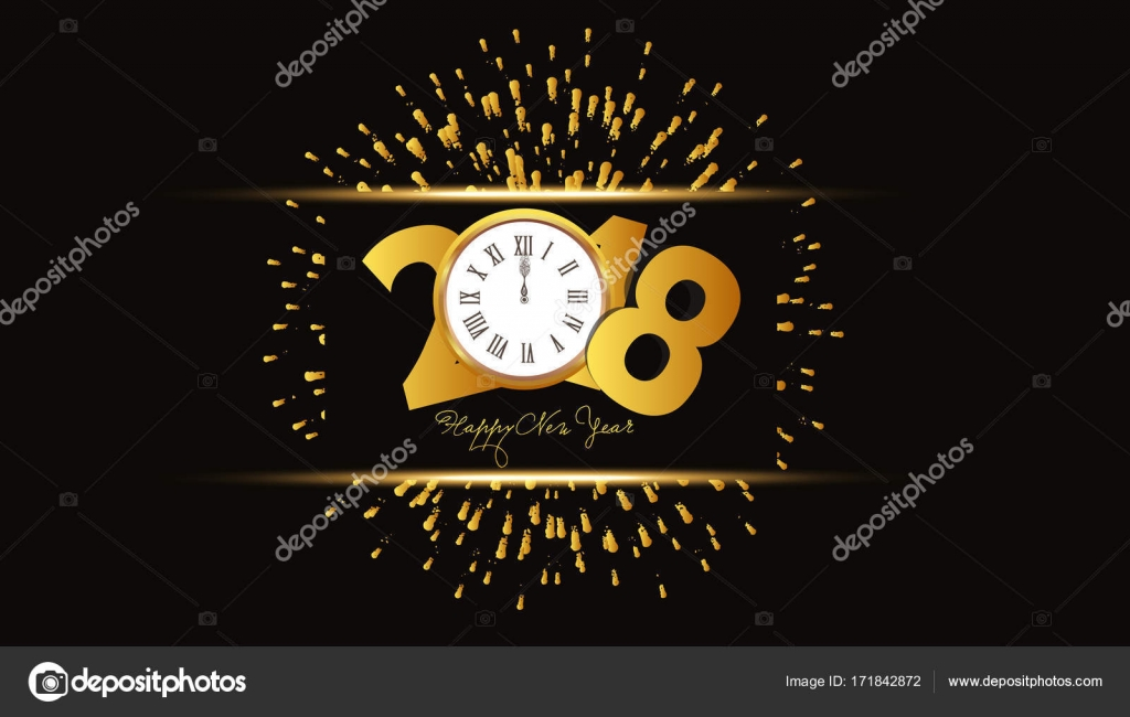 happy new year 2018 background with fireworks and gold clock stock vector