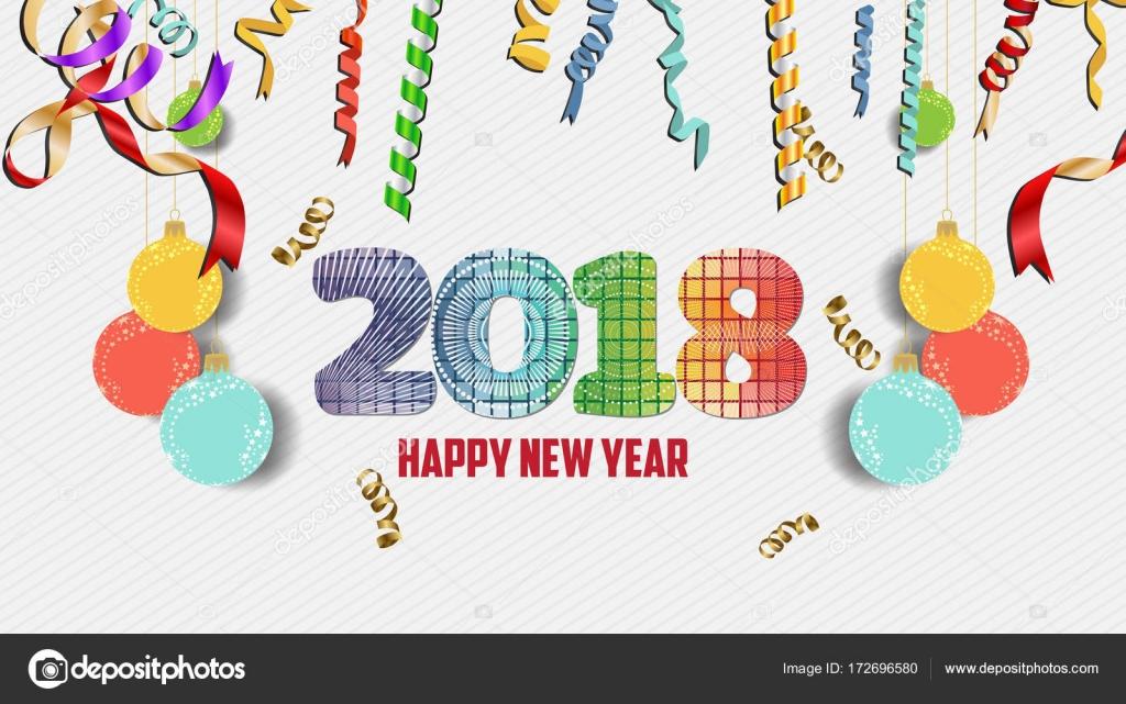 Frohes neues Jahr 2018 Konfetti Feier. Farbenfrohe Begrüßung ...