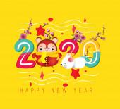 Šťastný čínský nový rok. Rok krysy. Čínské znaky znamenají šťastný nový rok