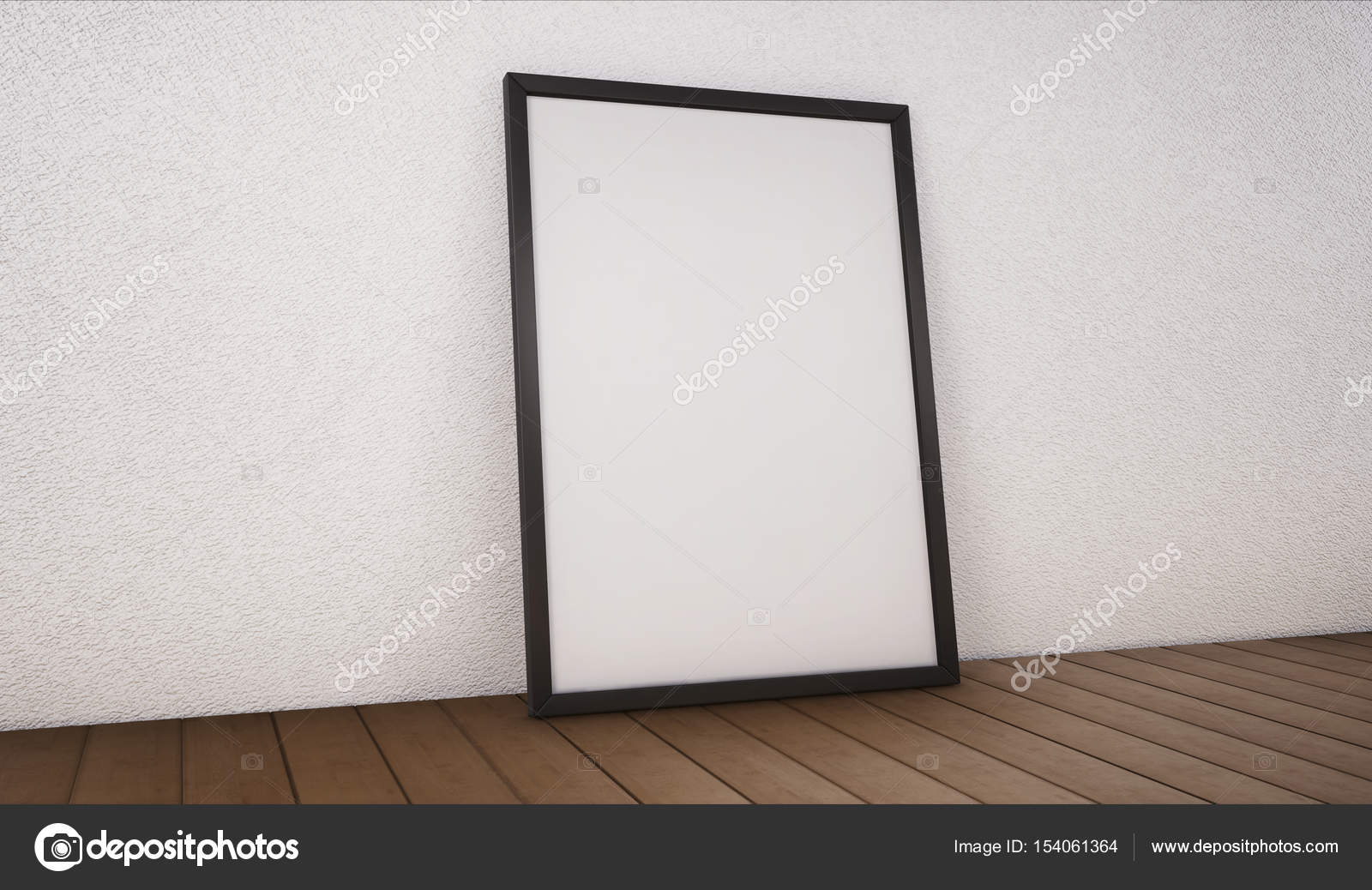 Poster With Black Frame Mockup Standing On The Floor 3d Renderi