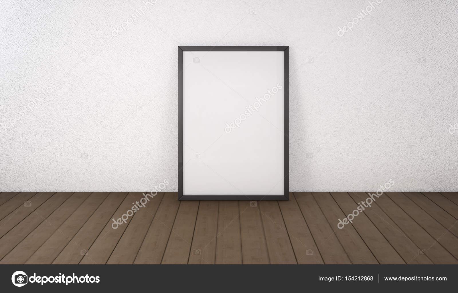 Póster con marco negro maqueta de pie en el piso. renderi 3D — Fotos ...