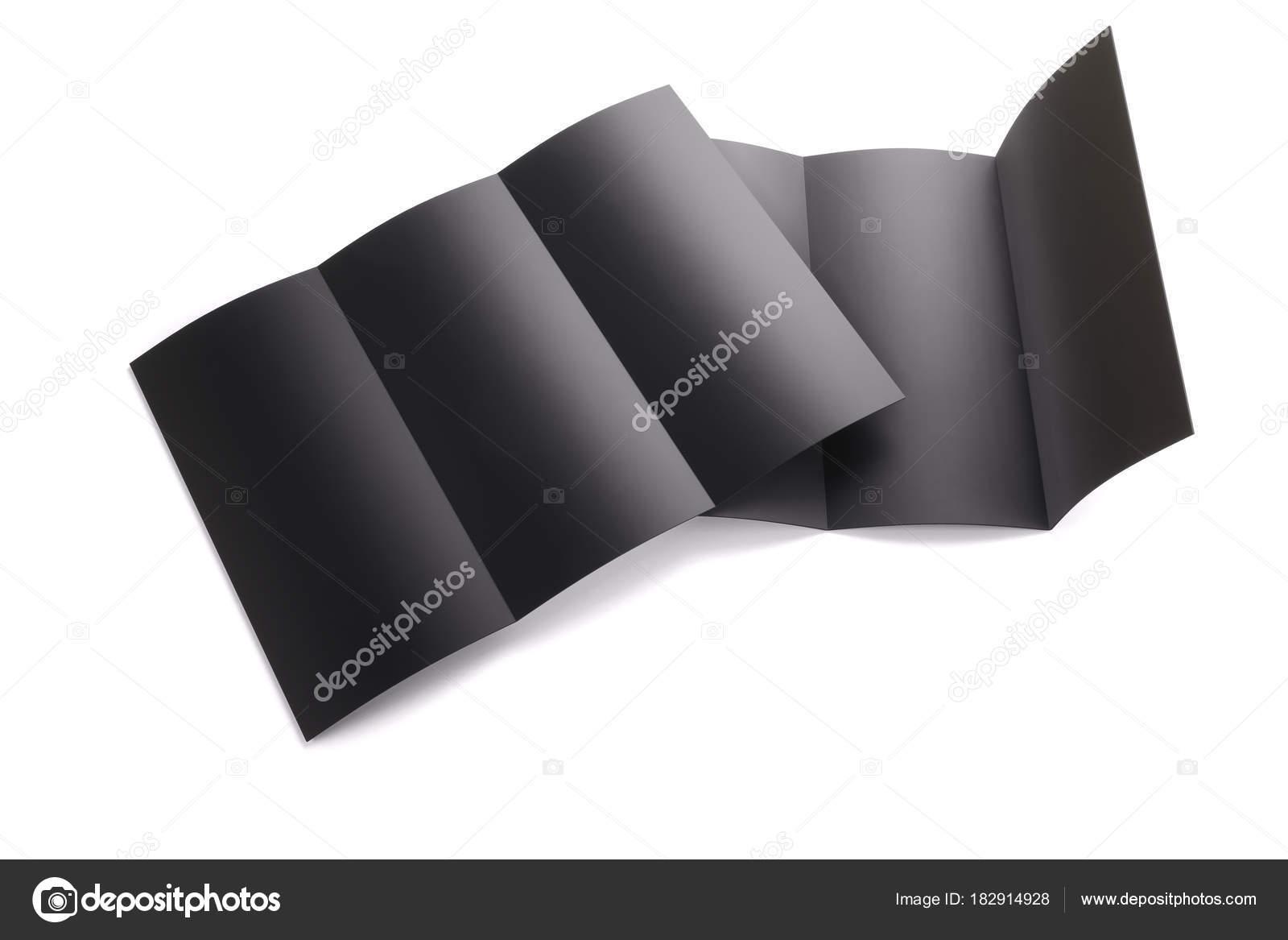 Leer schwarz Tri gefaltet Broschüre Mockup isoliert auf weißem ...