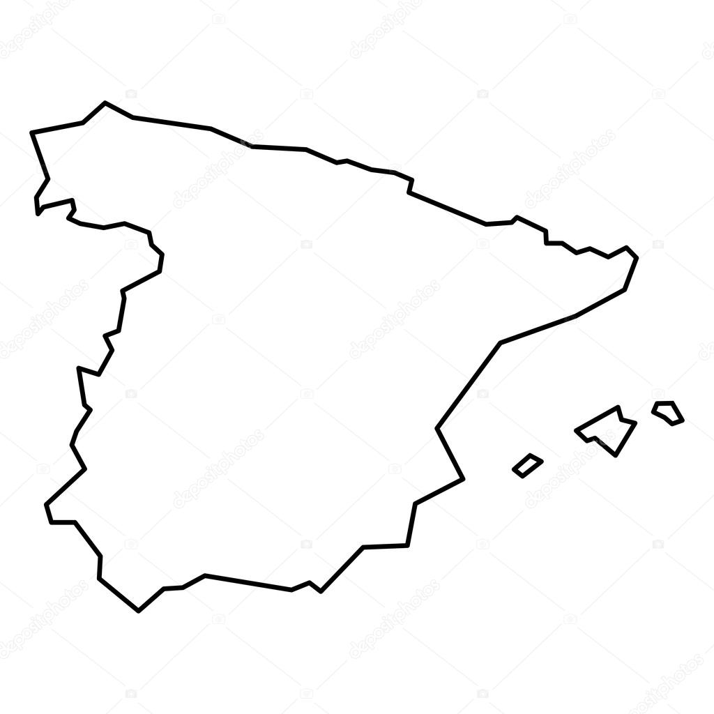 Map Of Spain Drawing.Black Contour Map Of Spain Stock Vector C Pyty 124939114