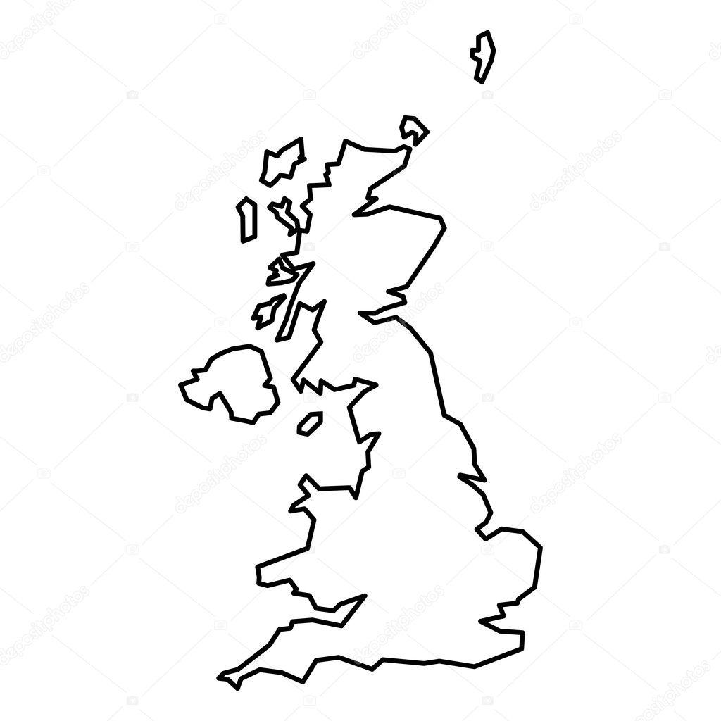 Großbritannien Karte Umriss.Schwarze Kontur Karte Des Vereinigten Königreichs Stockvektor