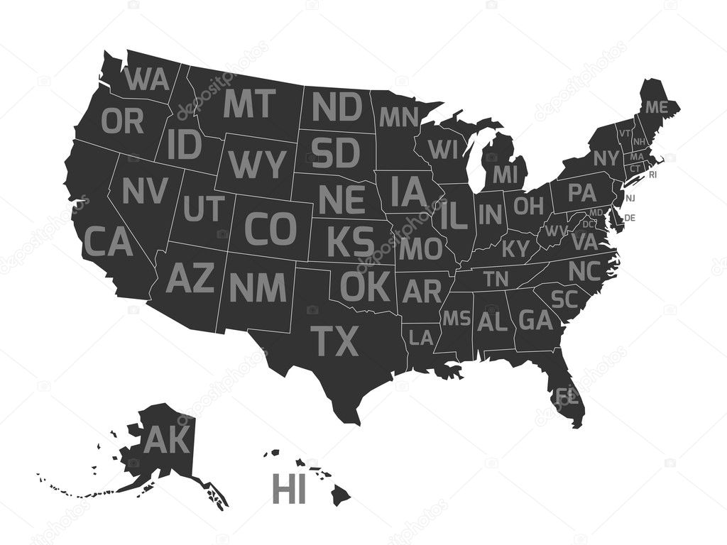 Map of USA with state abbreviations — Stock Vector © pyty ...