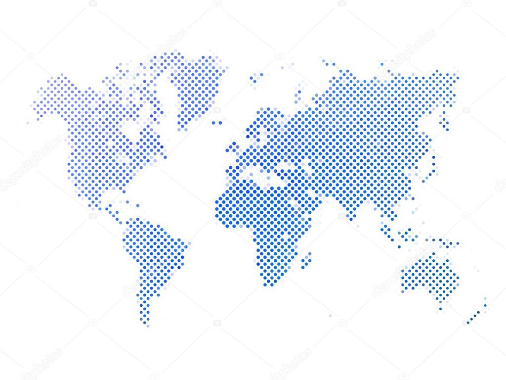 Dotted abstract vector map of World — Stock Vector © pyty #125720898
