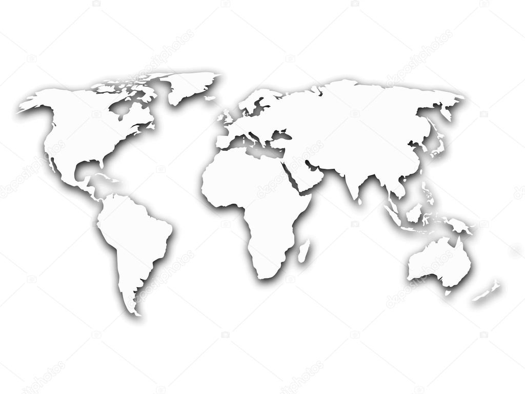 Map of world with shadow on white background stock vector pyty simplified contour world map with shadow on white gradient background vector illustration vector by pyty gumiabroncs Images